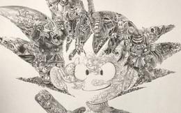 """Toàn bộ nhân vật trong bộ truyện Dragon Ball đều gói gọn trong bức chân dung """"bé"""" Son Goku, ạn nhìn ra được bao nhiêu người xuất hiện?"""