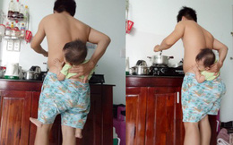 """Ông bố trẻ """"địu con trong quần"""" để rảnh tay nấu ăn trong lúc vợ bệnh khiến chị em cười ngất"""