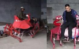 Bác nông dân Trung Quốc vừa chế ra xe hình con cua, biết bò tới bò lui nhưng hơi xóc