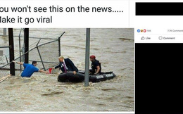 """Ảnh ông Donald Trump mặc complet cứu trợ lũ lụt """"gây bão"""" mạng"""