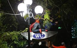 Phố đi bộ HN kín người, nhiều thanh niên trèo lên cây, leo nhà vệ sinh để xem ca nhạc