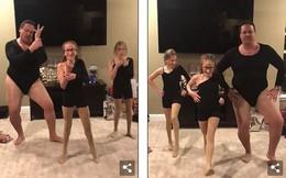 Clip: Bố xì tin mặc đồ bó sát nhảy cùng con gái gây sốt mạng xã hội