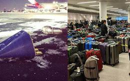 """Khung cảnh hỗn loạn tại sân bay JFK sau """"bom bão tuyết"""": Hơn 6000 chuyến bay bị hủy bỏ, 2 vụ va chạm máy bay xảy ra"""