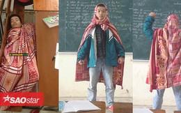 Cư dân mạng thích thú với hình ảnh 'Super man' quấn chăn đi học của nam sinh