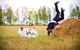 """Cõng cô dâu """"quá khổ"""" chụp ảnh cưới, chú rể đau lưng không đứng dậy nổi"""