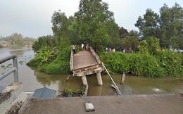 Sà lan chở cát làm sập cầu ở Tiền Giang