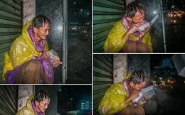 Giữa đêm, MXH xúc động mạnh với hình ảnh ông chú vô gia cư co ro húp cháo giữa mưa bão Sài Gòn