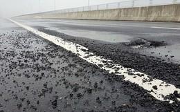 Cao tốc Đà Nẵng - Quảng Ngãi lại xuất hiện ổ gà sau nhiều ngày mưa lớn