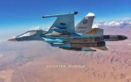 """Máy bay ném bom chiến trường Su-34 """"bắt dính"""" tiêm kích hiện đại thế hệ 4++ Su-35"""