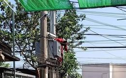Nam công nhân bị điện giật dính trên thùng điện
