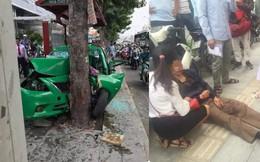 """Vụ tai nạn """"nóng"""" trên phố Sài Gòn: Taxi lao lên vỉa hè, đâm vào gốc cây, đầu xe biến dạng"""
