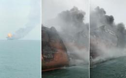 Cận cảnh tàu chở dầu treo cờ Việt Nam sau khi cháy ngùn ngụt ngoài khơi Hong Kong