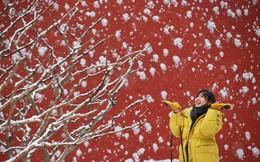 24h qua ảnh: Cô gái chụp ảnh dưới mưa tuyết trước Tử Cấm Thành