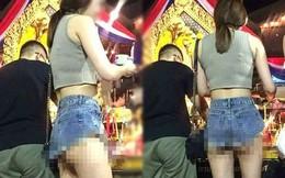 Đi lễ chùa đầu năm, cô gái gây bức xúc với cách ăn mặc xuyên thấu, thiếu vải