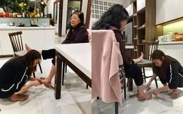 Mỹ Tâm đi tông, ngồi dưới sàn nhà cắt móng chân cho mẹ gây xúc động ngày 8/3
