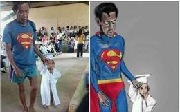 """Hình ảnh ông bố """"Superman"""" đi chân đất đến dự lễ tốt nghiệp mầm non của con gái khiến nhiều người cay mắt"""