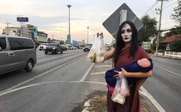 'Ma nữ' tay bế búp bê tay bán thịt nướng bên đường cao tốc gây sốt
