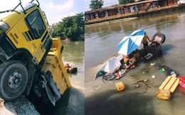 Xe ben lao xuống sông, đâm chìm ghe, hiện trường vụ tai nạn hy hữu gây tò mò