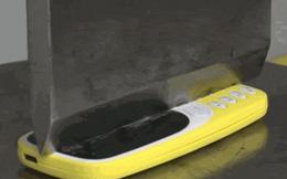 [Video tra tấn] Thử cắt đôi Nokia 3310 bằng máy nén thủy lực nặng 100 tấn