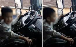 Xôn xao việc bố quay clip con trai 'lái' xe tải băng băng trên đường: Chỉ là diễn vì xe được kéo đi?