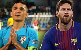 Hai lần chọc thủng lưới Thái Lan, đội trưởng Ấn Độ vượt mặt Messi, chỉ còn kém mỗi Ronaldo