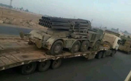"""Quân đội Syria rầm rập kéo hệ thống phóng tên lửa """"khủng"""" BM-27 Uragan tới Idlib"""