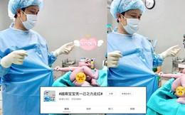 """Dân mạng Trung Quốc cũng phải phát cuồng vì em bé sơ sinh Việt Nam nắm chặt áo bác sĩ, gào khóc """"ăn vạ"""""""