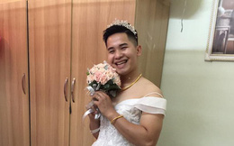 """Vợ """"nhây"""" trêu chồng bắt mặc váy cô dâu còn chụp ảnh tung lên mạng khiến ai cũng bật cười"""