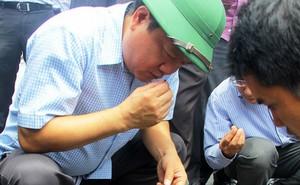 Bộ trưởng Đinh La Thăng kiểm tra đoạn đường nghi bị phá hoại