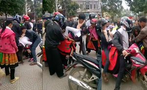 """Cô gái bị bắt vợ đến """"tụt cả váy"""" ở ngay trung tâm chợ thị trấn Phù Yên"""
