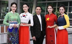 """Huyền My, Phương Oanh """"Quỳnh búp bê"""" trình diễn áo dài của NTK Đỗ Trịnh Hoài Nam tại Hàn"""