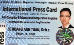 """Lần theo tổ chức cấp thẻ """"nhà báo quốc tế"""" cho ông Lê Hoàng Anh Tuấn"""