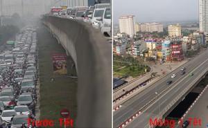 Hình ảnh so sánh trước và sau cho thấy đường phố Hà Nội khác biệt đến lạ thường khi bước sang ngày đầu năm mới