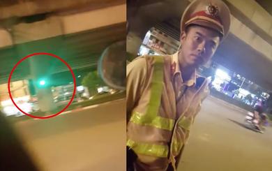 """Dừng xe vì lỗi vượt đèn đỏ, CSGT """"xin lỗi anh giai"""""""
