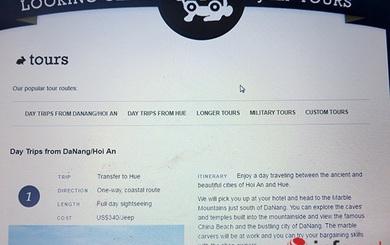 """Đà Nẵng: Bị thu hồi tờ rơi, Jeep Tours vẫn ngoan cố giữ """"China Beach"""" trên web!"""