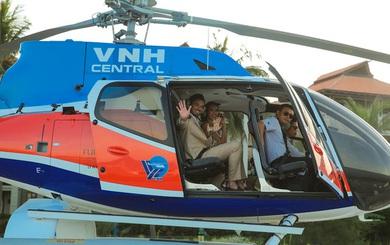 Hà Anh và ông xã đáp trực thăng xuống lễ cưới ở bãi biển