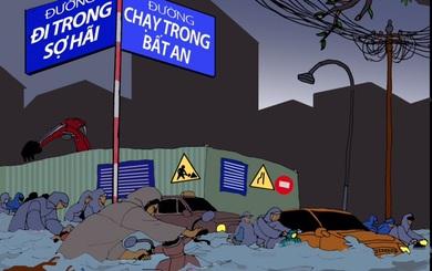 Hình ảnh hài hước về trận mưa lớn nhất từ sau năm 1975 ở Sài Gòn