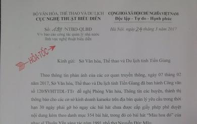 """Lãnh đạo Bộ Văn hóa yêu cầu Sở VH Tiền Giang báo cáo khẩn cấp vụ cấm ca khúc """"Màu hoa đỏ"""""""