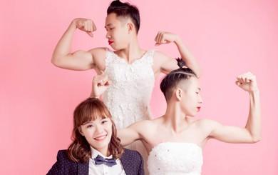 """Bộ ảnh """"siêu ngược đời"""" - em trai thử rách cả váy cưới để chiều lòng chị gái"""