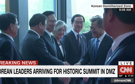 [CẬP NHẬT] Hội nghị thượng đỉnh liên Triều: Nhà lãnh đạo Triều Tiên Kim Jong-un đã tới Bàn Môn Điếm