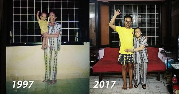 Khoảnh khắc bà – cháu và bộ quần áo sau 20 năm khiến bao người xúc động