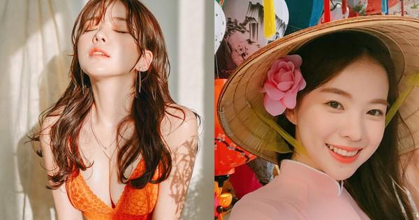 """Nhan sắc của """"nữ hoàng gợi cảm"""" Hàn Quốc diện áo dài, nón lá Việt Nam                                                                                                                                                               Người mẫu nội y L"""