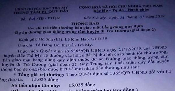 Tiết lộ mới bất ngờ vụ khen thưởng 15.025 đồng                                                                                                                                                               Chính quyền tỉnh Quảng Nam đã yêu cầu cấp huyện bá