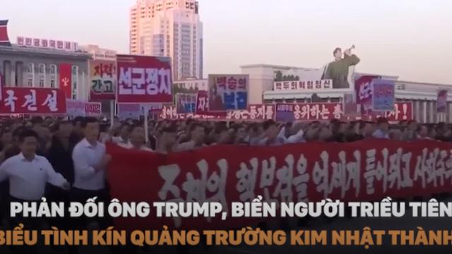 [VIDEO] Biển người Triều Tiên biểu tình kín quảng trường Kim Nhật Thành phản đối Mỹ