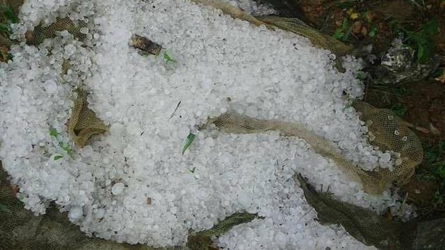 Hòa Bình: Mưa đá hạt to như ngón tay xuất hiện ở nhiều nơi