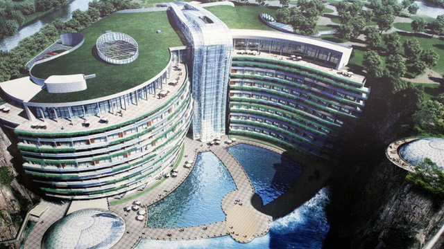Khách sạn sang trọng này tại Trung Quốc tọa lạc ngay trong một mỏ đá sâu hàng trăm mét