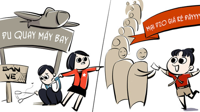 Hí hoạ: Chuyện nhà ba người kinh doanh đu quay máy bay