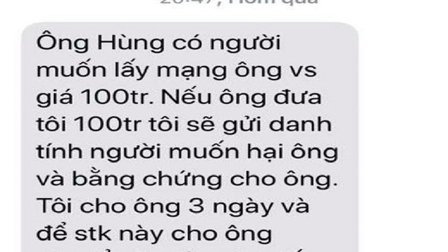 Tin nhắn đe dọa lãnh đạo VP đoàn ĐBQH là SIM rác từ TP.HCM