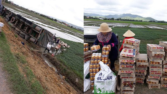 Xe container lật ngang xuống ruộng và hành động nhận triệu like của người dân Phú Yên