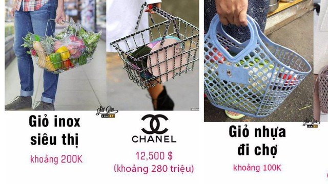Chiếc bao tay rửa bát, giỏ nhựa đi chợ bỗng thành...đồ hàng hiệu giá gần trăm triệu